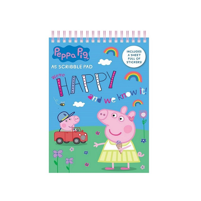 Peppa Pig Girls A5 Soft Cover Scribble Pad Back to School Book