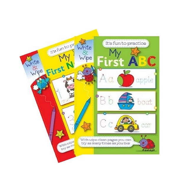 Set of My First Numbers And ABC Write & Wipe Booklets Educational Fun