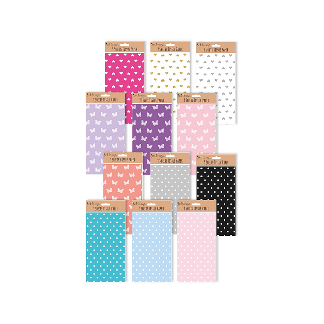 9 x Sheets Tissue Paper For Wrapping And Crafting - Spots Butterfly Hearts Lots Of Colours