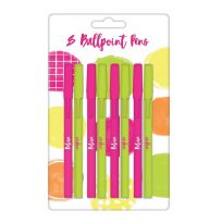 8 x Believe & Inspire Super Colourful Neon Ball Point Pens Pink & Green