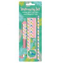 Tropical Birds Theme Stationery Set - School Ruler Pen Pencil Eraser Pencil Sharpener