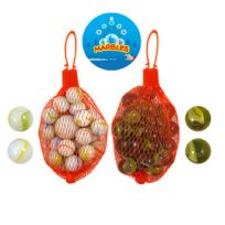 Traditional Classic Glass Marbles Kids Game 20 Marbles In Net