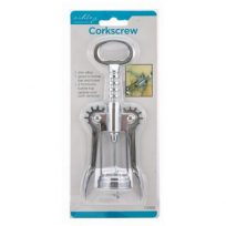 Corkscrew Wine Bottle Opener With Levers For Easy Use Silver Chrome Zinc Alloy