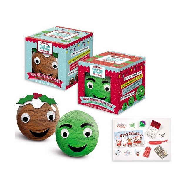 Christmas Pudding or Sprout Pass The Parcel Party Game Also Crackers Alternative