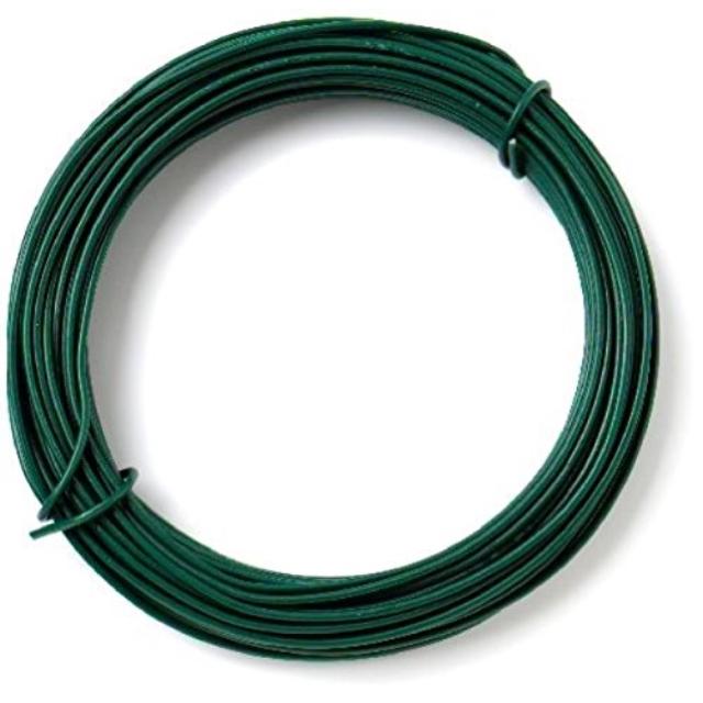 Green Plastic Coated Garden Wire, 2.0 mm Diameter x 20 Metre Fencing Trellis Construction