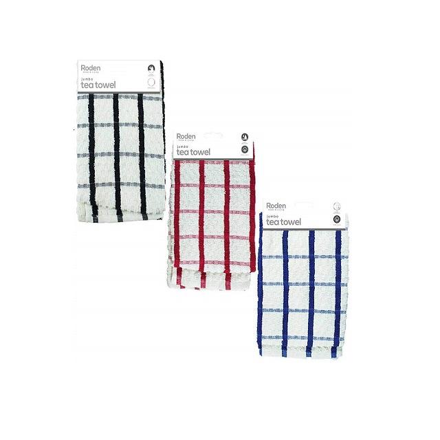 Jumbo Cotton Tea Towel 68cm x 48cm Blue Black or Red Checks