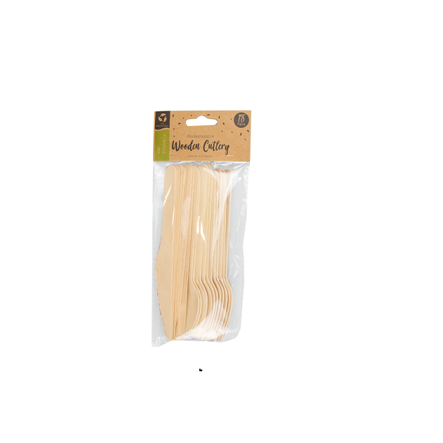 Biodegradable 18 Pack Wooden Cutlery Eco Friendly Birchwood Camping Outside BBQ