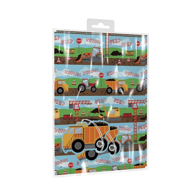 Children's Digger Tractor Design 2 x Sheets Gift Wrap Wrapping Paper & Tags Birthday