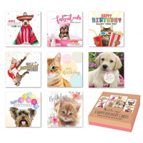 Box of 8 Greeting Cards - Birthdays Various Ages, Mixed Occasions, Thank you - Cats & Dogs Birthday