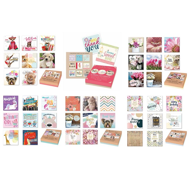 Box of 8 Greeting Cards - Birthdays Various Ages, Mixed Occasions, Thank you