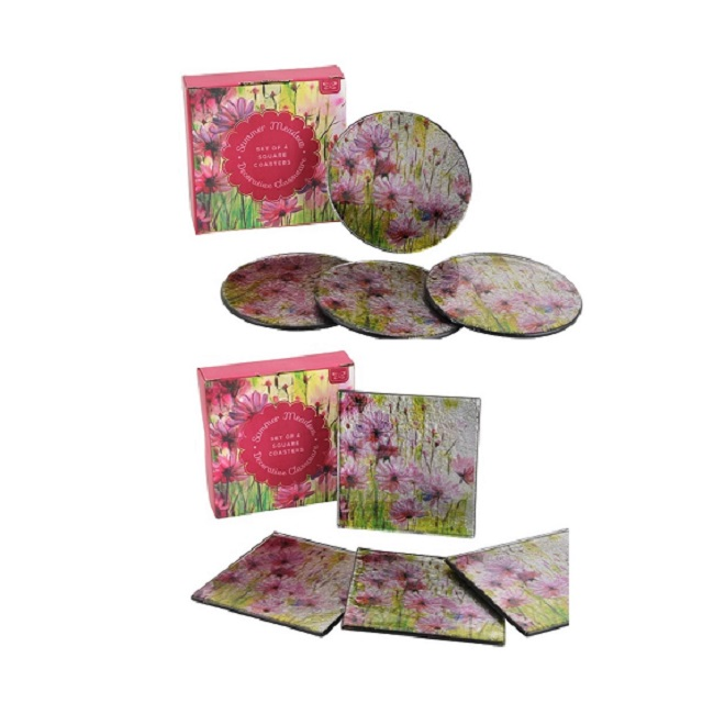 Beautiful Meadow Design Glass Coasters CLEARANCE PRICE Round Or Square