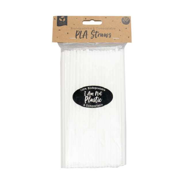 Biodegradable Eco Friendly 80 x Pack White Straws