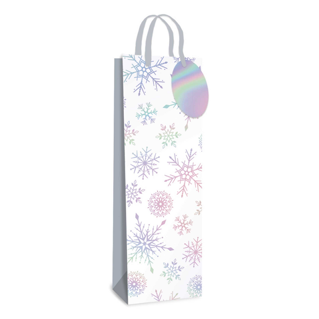 2 x Xmas Christmas Wine Bottle Bag & Tags Laser Snowflakes Design Gift Wrap Party
