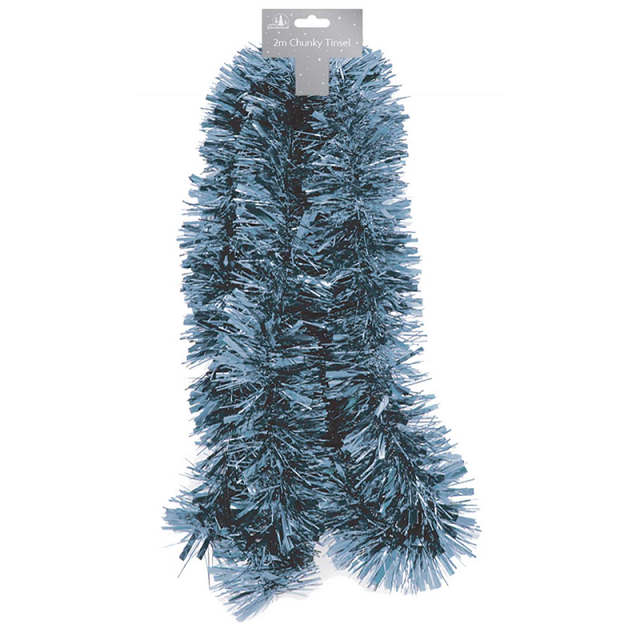 Traditional Xmas Tree Tinsel Navy Blue 2 Meters