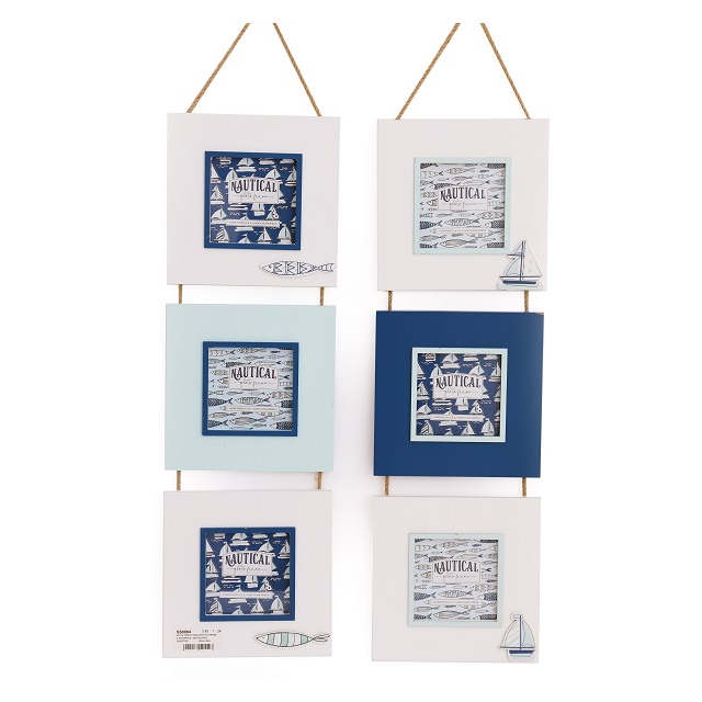 Triple Hanging Nautical Picture Photo Frames