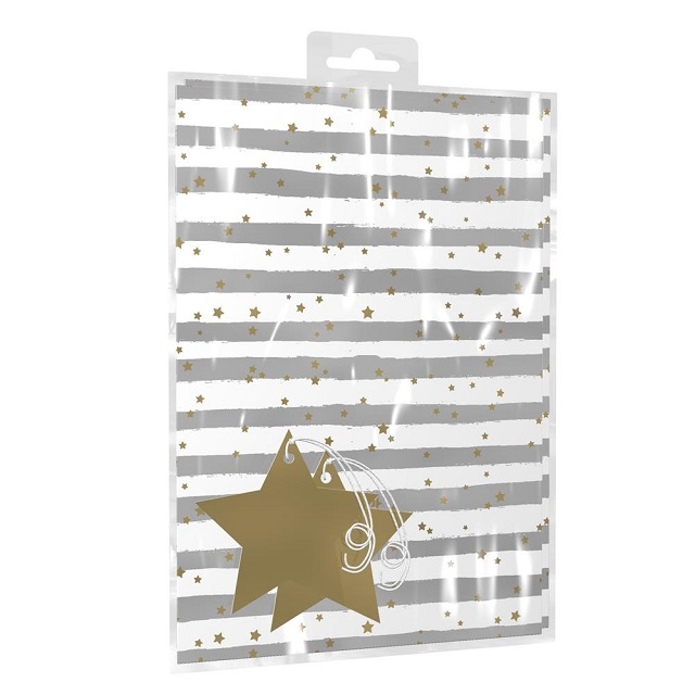Silver & Gold Star & Stripes Birthday Gift Wrap Wrapping Paper x 2 with Tags