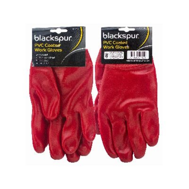 Red PVC Coated Work Gloves Knitted Wrist Rubber Builders Gardening