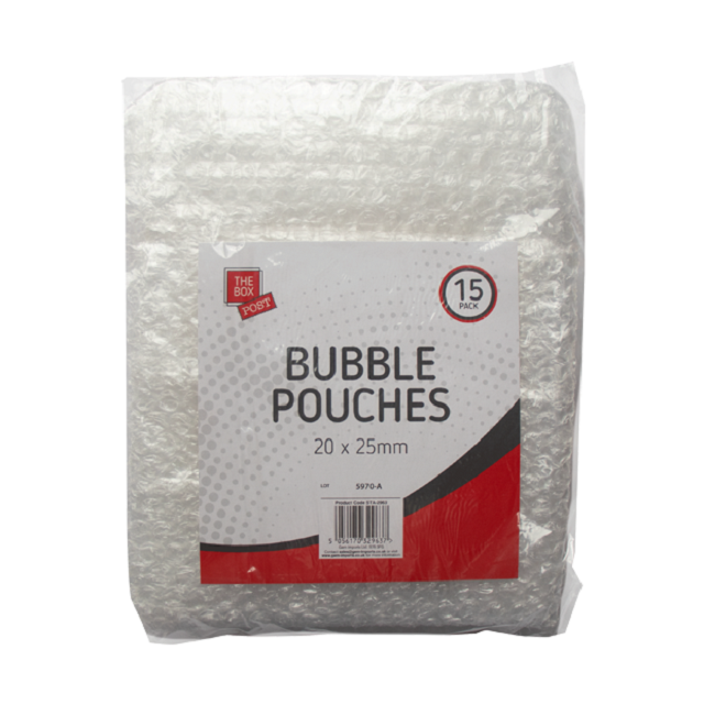 15 x Clear Packaging Bags Bubble Pouches Packing Solution, 20mm x 25mm