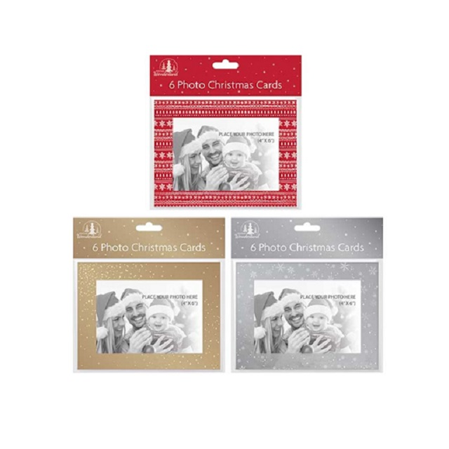 "6 Pack Of 4"" X 6"" Photo Christmas Cards With Envelopes Silver Red Or Gold"