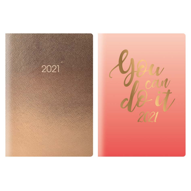 2021 A5 Week To View Diary Metallic Organiser Gold Foil Paperback Planner Book