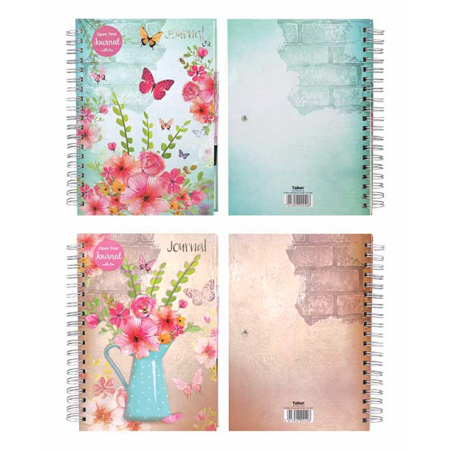 Open Year Journal Notebook Ruled Vintage Diary with Pen Undated Hardback Spiral