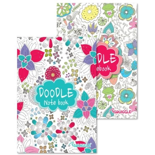 2 x A5 Doodle Colouring Illustrated Writing Notebooks Notebook