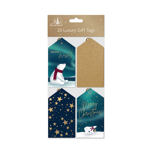 Pack Of 20 Luxury Christmas Xmas Gift Tags Cards Blue & Gold Glitter Foil