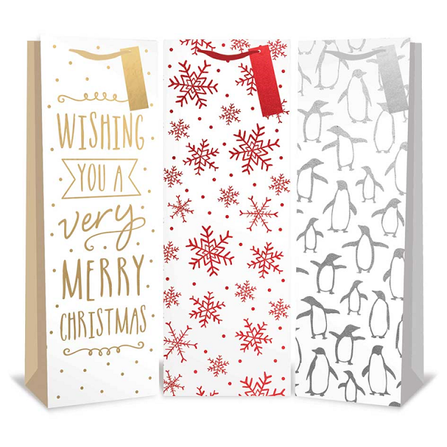 Pack Of 3 Christmas Xmas Bottle Bags Silver Penguins Gold Text Red Snowflakes