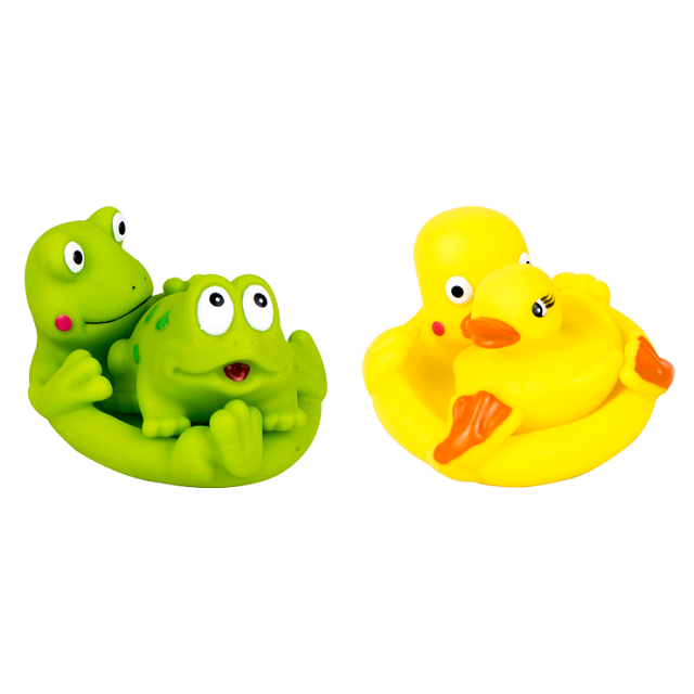 Baby Bath Time Fun Floating Squeaky Frog & Baby Or Duck & Duckling
