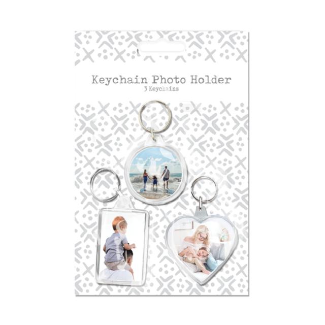 3 Pack Keychain Photo Holder Blank Acrylic Plastic Transparent Key Ring Gift