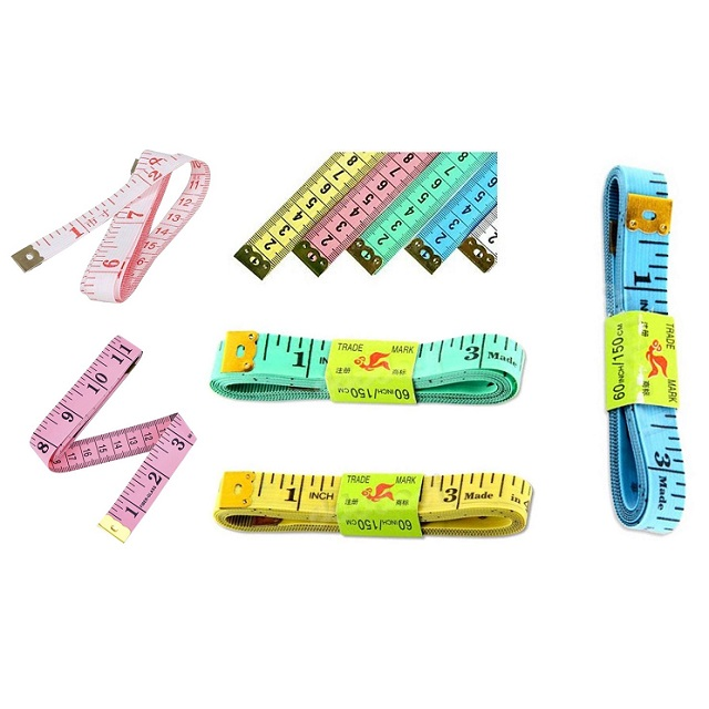 """1.5M 60"""" Soft Plastic Tape Measure Pink Yellow Green Blue Or White"""