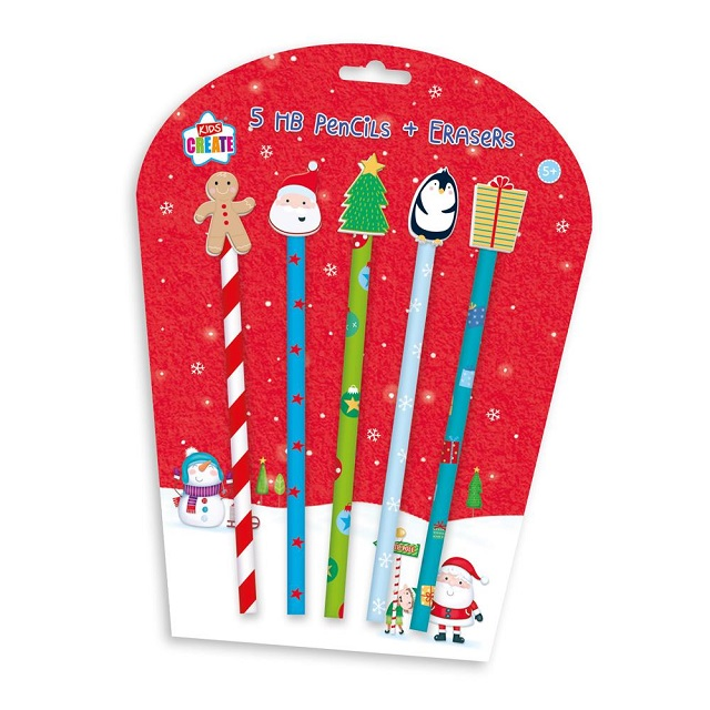 5 x Christmas Pencils Xmas Shaped Rubber Eraser Toppers Fun Stocking Fillers