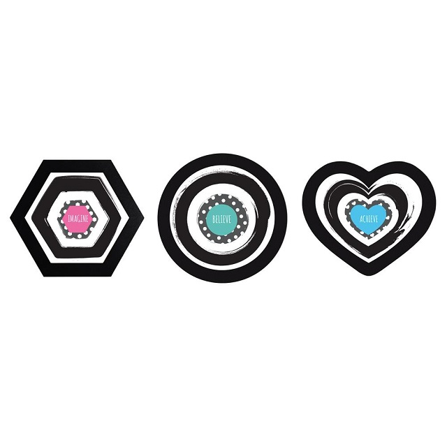 Pack of Trio Round Heart & Hexagon Shape Black Colour Photo Frames Shabby Chic Holds