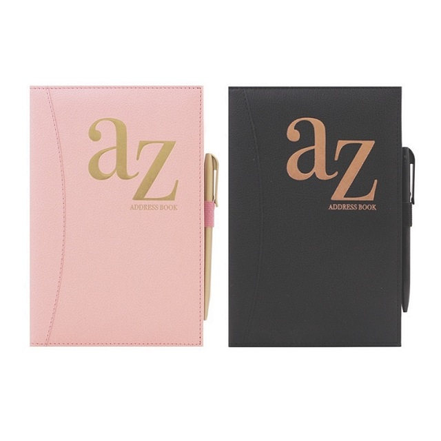 A to Z Telephone A5 Address Book A-Z Index Hard Back Cover with Pen Pink Or Black
