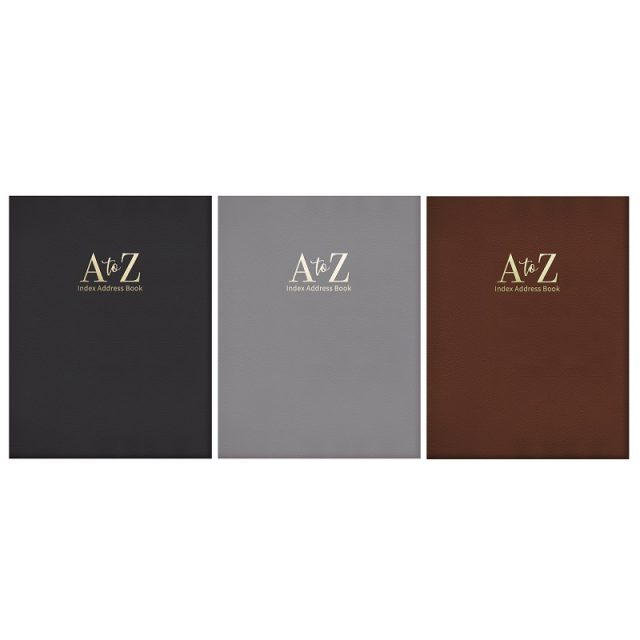 Large A - Z Leather Look Padded Address Book Various Colours