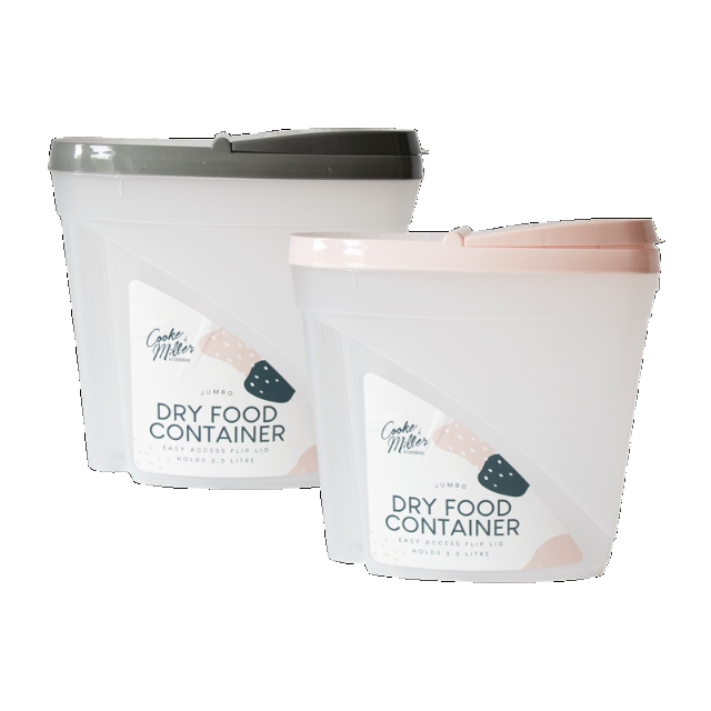 Set Of Two Jumbo Dry Food Containers 3.5 Litre Flip Lids