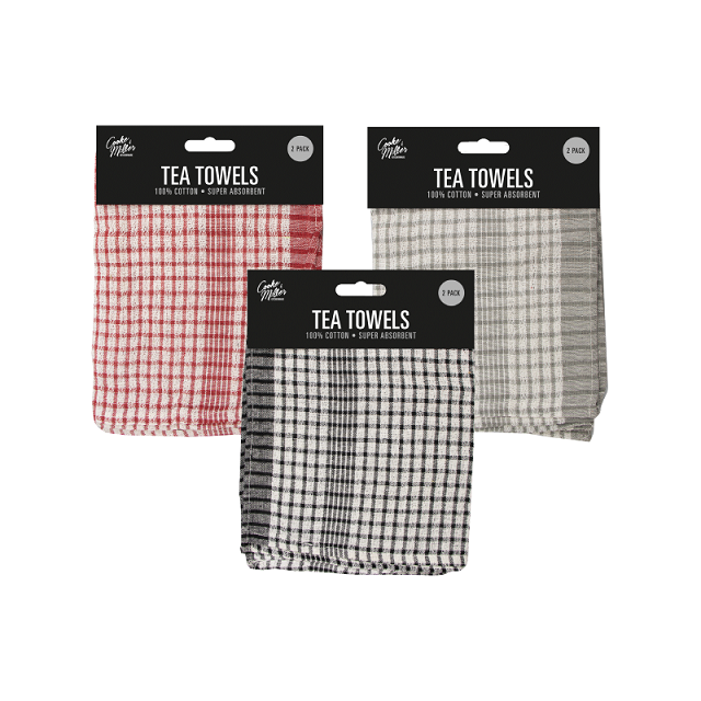 2 Pack 100% Cotton Tea Towels